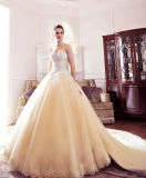 Lace Ball Gown Champagne Tulle Wedding Dress Wd63