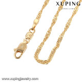 Fashion Jewelry Gold Plated Single Wave Necklace Chain in 2mm