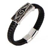 Freemason Jewelry Stainless Steel Leather Bracelet