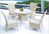 White Simple Outdoor Garden PE Rattan Furniture with Armrest Chairs