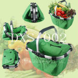 Picnic Basket Cooler Folding Shopping Basket with Single Handle