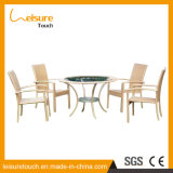 Outdoor Rattan Wicker Garden Patio Furniture Dining Chair Table Set with Glass