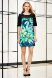 Flower Placement Printing Shift Dress with Lace York
