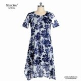 Miss You Ailinna 103076 Women Chinese Pattern Pleated Cotton Dress