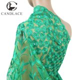 Nigeria Green African Lace Embroidery Fabric for Wedding Dress
