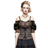 Y-727 Steampunk Gear Burnt out Stretchy Knitted Twill Vest
