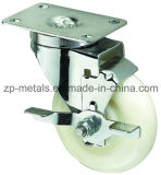 Medium-Duty White PP Swivel Caster Wheel with Side Brake