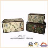 Antique Nesting PU Print Colorful Storage Trunk Wooden Gift Box