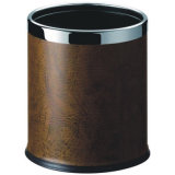 Stainless Steel Trash Bin Covered with Leatherette