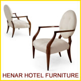 Comfortable Antique Wooden Fabric Cover Dining Arm Chair for Restaurant