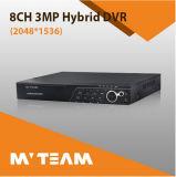 Ahd Tvi Cvi IP Cvbs Hybrid 3MP 8CH DVR Recorder for Security Cameras (6508H300)
