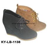 China Lady Black Wedge Shoes