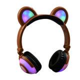 Over Ear Wired Cute Cartoon LED Bear Ear Headphone
