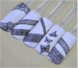 Black Lace Butterfly Water Transfer Nail Art Stickers Nail Sticker
