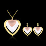 Hollow out Gold Plated Heart Necklace Earrings Women Jewelry Sets