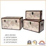 Wooden Decorative Vintage Beige World Map Print Storage Trunk Set of 3