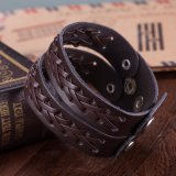 Fashion Jewelry Braided Silver Plated Unisex Leather Bracelet
