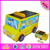 2016 Wholesale Toddlers Wooden Toy School Bus, Fashion Kids Wooden Toy School Bus, Children Toy School Bus W04A305