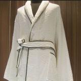Piping White Cotton Jarquard Kimono Hotel Bathrobe (DPFT8071)