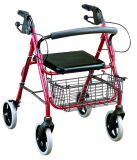 Foldable Wine Color Aluminum Rollator with Basket