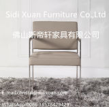 Modern Furniture Stainless Steel Frame Leather Dining Chair with Armrest Leisure Chair
