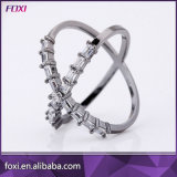 Zirconia Semi Joias Anel Men′s Ring with Black Gold Plating