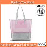 Pink PVC and Grey PU Women Handbag Set (BDY-1711087)