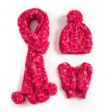 Womens Unisex Children Girls Ladies 3PC Winter Cable Twist POM POM Beanie Scarf Long Gloves Flip Cover Hat Set (SK123S)