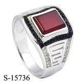 New Models 925 Sterling Silver CZ Man Ring with Agate.