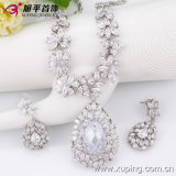 Fashion Luxury Big Heart-Shaped CZ Crystal Rhodium Jewelry Set for Wedding (set-16)