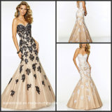 Lace Beads Party Evening Gowns Black Champagne Cocktail Prom Dresses Y1025