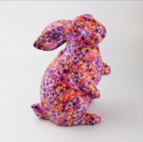 Fancy Design OEM Flowers Ceramic Bunny Coin Bank