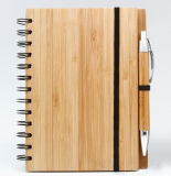 Bamboo Cover Spiral Note Book with Bamboo Pen