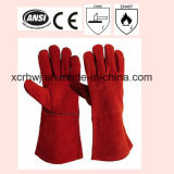 14 Inch Ab Grade Cowhide Split Leather Welding Gloves with Kevlar Stitching and Cotton Lining, High Quality Welding Leather Gloves Price, Leather Working Gloves