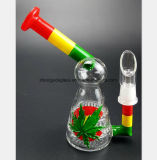 Colorful Leaf Craft Bird Glass Tube Filter Water Pipe