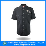 Garment Factory Wholesale Black Plain Short Sleeve Mens Shirts