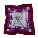 Romantic Purple Pure Silk and Polyester Printed Lady Scarf Square Satin Twill (LS-35)