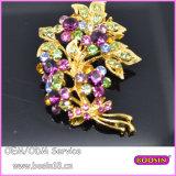 Fashion Gold Jewelry Purple Stones Flower Leaf Brooch 5294