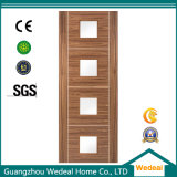 High Quality Solid Wooden Veneer Flush Door for Hotels with Glass