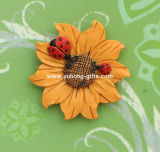 Flower Sculpture Polyresin Refrigerator Magnet for Decoration (YH-RFM040)