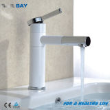 Bathroom Brass Tall Swivel Vanity Sink Faucet Basin Mixer Hot and Cold Water, White Paint