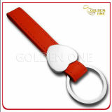Promotion Genuine Leather Keyring with Metal Heart-Shaped Charm