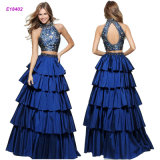 New Fashion Two-Piece A-Line Gown with a Tiered Skirt and a Printed Bodice Evening Dress