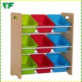 Colorful Safe Kindergarten Kids Toy Wooden Storage Rack