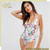 New Arrival Women Floral Print Sexy Stretch Swimsuit with Adjustable Straps