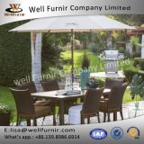 Well Furnir T-083 Rattan Wicker Dining Chair and Steel Slatted Table Set