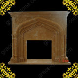 Henan Yellow Marble Carving Fireplace Mantel (GS-FF-030)
