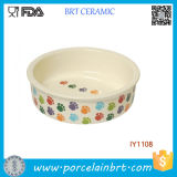 Lovely Polychrome Foot Step Little Cute′s Fave Ceramic Pet Bowl