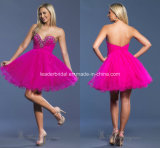 Fuchsia Short Party Gowns Sweetheart Beads Prom Cocktail Homecoming Dresses Z9051