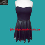 Ladies' Laser Cut Fashion Dress with PU Leather Bottom